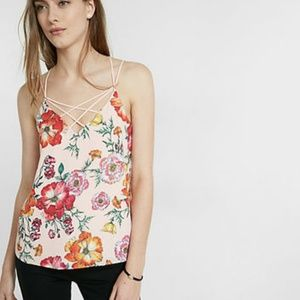 Express Floral Strappy Crisscross Cami Size L